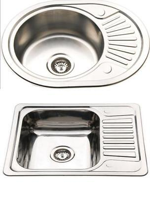 Compact 1.0 Bowl Inset Polished Stainless Steel Kitchen Sink Sinks