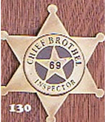 Chief Brothel Inspector Western Badge Solid Brass