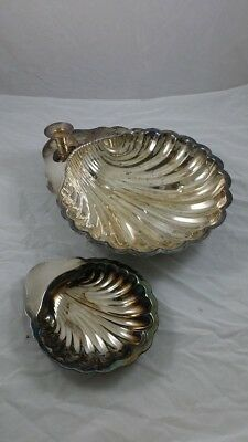 Silver Plated Clam Shell Set: Serving Platter with Candle Holder and Small Plate