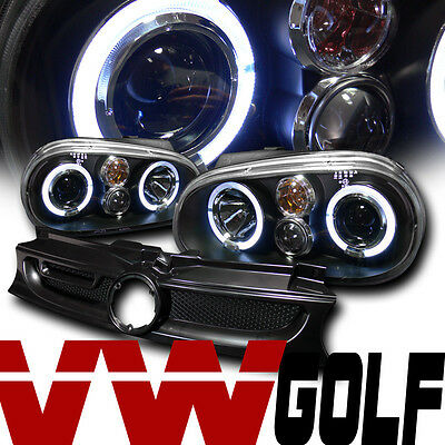 BLACK HALO PROJECTOR HEAD LIGHTS+FRONT MESH GRILL GRILLE A 99-05 VW GOLF GTI MK4