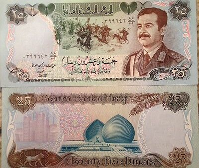 IRAQI IRAQ 1986 25 DINAR SADDAM MILITARY VERY RARE P-73 BUY FROM A USA SELLER !!