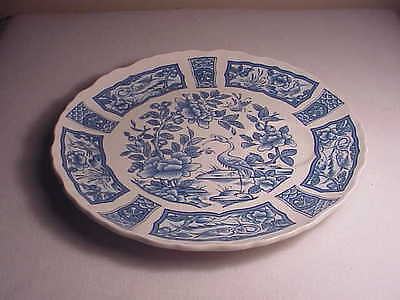 "Vintage James Kent Imari 9"" Luncheon Plate - Blue/white Peony Asian Floral"