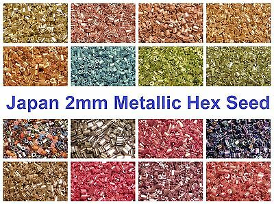 10g 900pc Japan Hex Metallic Glass Seed Beads 11/0 2mm - Choice of Many Colours