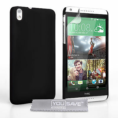 HTC Desire 816 Shock Proof Hard Plastic Black Hybrid Phone Case + Screen Guard
