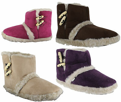 Womens Girls Coolers Furry Lined Ankle Booties Snug Slippers Sizes 2 to 7