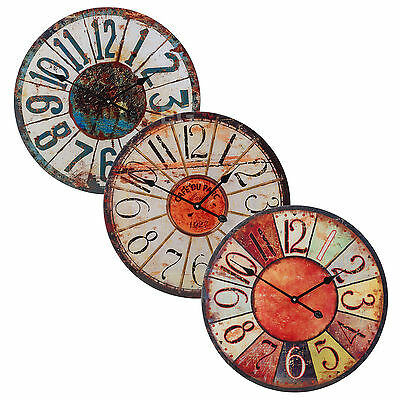57cm Large Round Glass Shabby Wall Clock Vintage Retro Antique Distressed Style