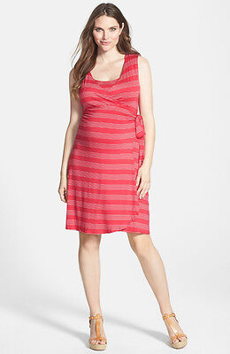 New Japanese Weekend Maternity Nursing Casual Sleeveless Red Stripe Dress