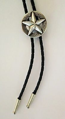 Star Texas State Silver Rodeo Cattle Western Cowboy Bolotie Western Bolo Tie