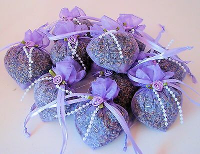 Hand Crafted Lavender Sachets,Organic Lavender Buds,in Heart shaped Organza Bags