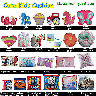 Quality Filled Cushion Kids Children Boys Girls Disney, Characters, Shape, Car