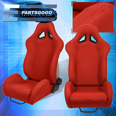 For Honda Car Auto Truck Suv Jdm Vip Reclinable Bucket Seat Chair Cloth Kit Red