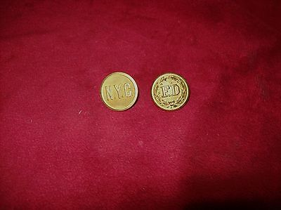 Vintage N.Y.C. and F.D. Buttons, Lot of Two, Coat, Jacket, Uniform.