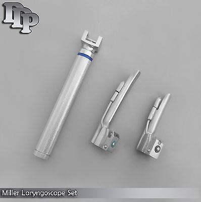 LARYNGOSCOPE SMALL HANDLE AA + 2 MILLER BLADE #0 and #1 ENT ANESTHESIA SET