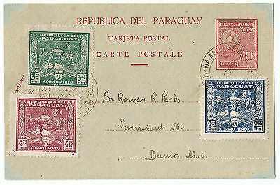 Paraguay 1930 Postcard To Buenos Aires  Nice Franking
