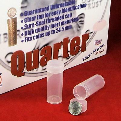 5 Round Quarter 24.3mm DuraClear Unbreakable Coin Tubes Made in the USA