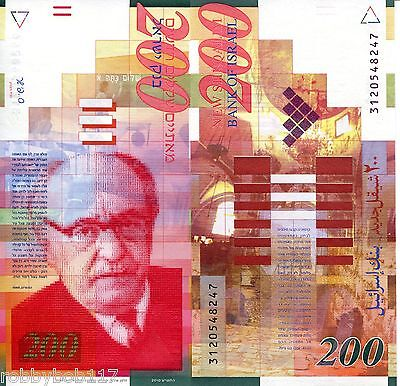 ISRAEL 200 New Sheqalim Banknote World Paper Money Currency Bill p62d Note Asia