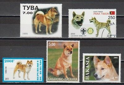 Shiba Inu Dogs 5 different stamps SHIN02