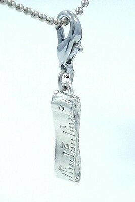 ClipON Measuring Tape Sewing, Quilting SP Pewter Charm Clip On