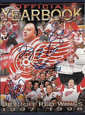 Detroit Red Wings signed 1997-98 hockey yearbook Stanley Cup Champs!