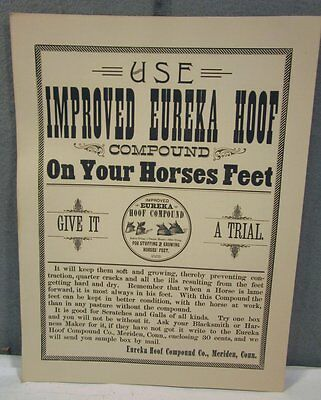 VINTAGE 1890's IMPROVED EUREKA HOOF VETERINARIAN MEDICAL HORSE MEDICINE SIGN