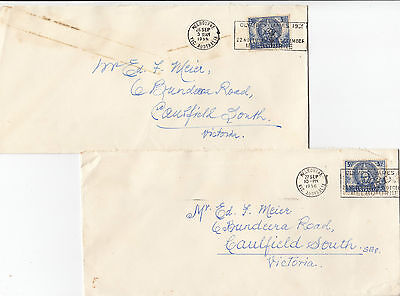 Stamps Australia 1956 usage 3&1/2d blue Mitchell cover pair Olympic Games p/mark