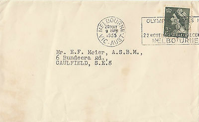 Stamp Australia 1955 3d green QE2 cover with Olympic Games slogan postmark
