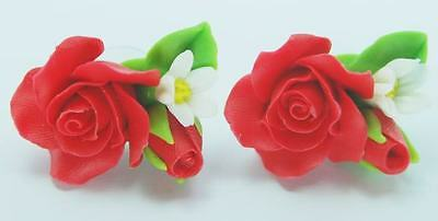 New Handcrafted Clay Sweet Red Floral Rose Handmade Flower Blossom Stud Earrings