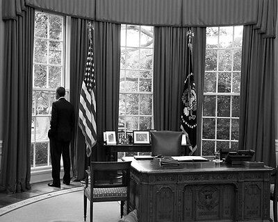 President Barack Obama Looking Out Oval Office White House 8X10 Photo