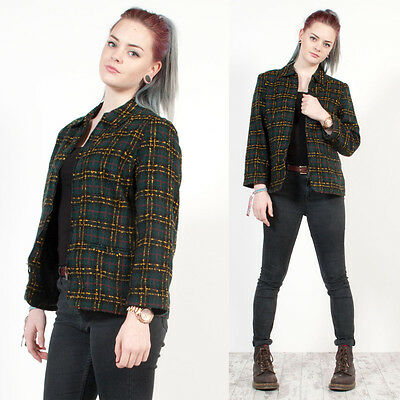 Vintage 80's Green Check Plaid Tartan Tweed Clueless Style Blazer Jacket 10
