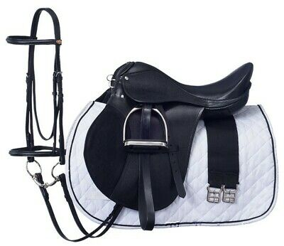 16 Inch All Purpose English Saddle Package -Black - All Leather - Regular Tree