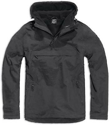 Brandit Black Windbreaker Hooded Weather Proof Fleece Lined Anorak Jacket