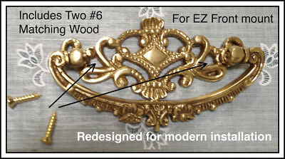 Handmade Identical to Victorian Crown Bail Drawer Pull-Front Mount-Solid Brass
