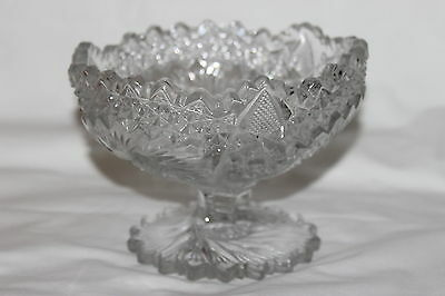 Antique Us Glass Comet In The Stars Pedestal Compote Bowl Dish Lovely
