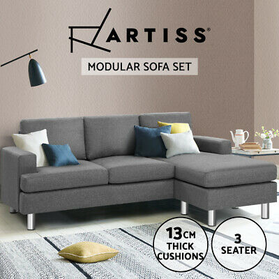 Linen Fabric Sofa Couch Outdoor Lounges Futon Suite Chaise Modular Bed