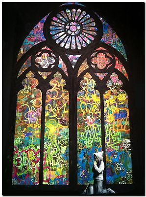 """BANKSY STREET ART CANVAS PRINT Hooded guy Pray Cathedral 8""""X 10"""" stencil poster"""