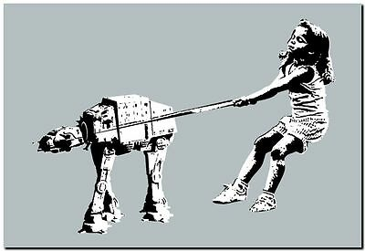 "BANKSY STREET ART CANVAS PRINT Girl with pet Imperial Walker 8""X 10"" poster"