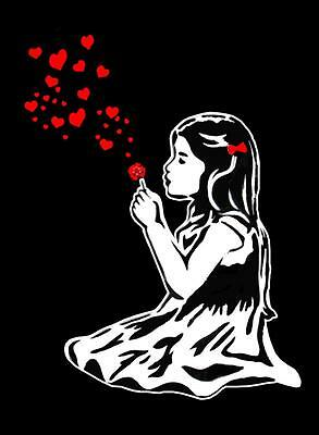 "BANKSY STREET ART CANVAS PRINT Girl blowing hearts 8""X 10"" stencil poster"