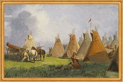 Camp of the Red River Hunters John Mix Stanley Indianer Tipi Pferde B A2 02663