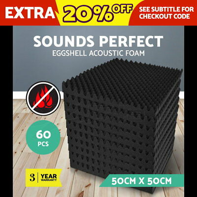 40 x Sound Stop Absorption Treatment Proofing Acoustic Foam Square 50 x 50cm