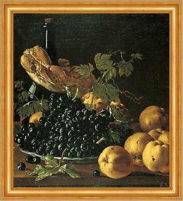 Still Life with Bread, Apples, Grapes and a Bottle Melendez Trauben B A3 02837