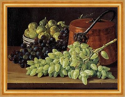 Melons Grapes Bread Melendez Essen Obst B A2 02836 Still Life with Apples