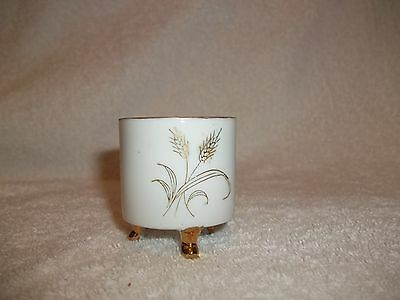 Vintage LEFTON Golden Wheat Footed TOOTHPICK HOLDER 4849 1960s Retro Tableware