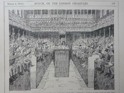 Political HOUSE OF COMMONS - A STORMY SESSION March 4th 1914 Punch Cartoon