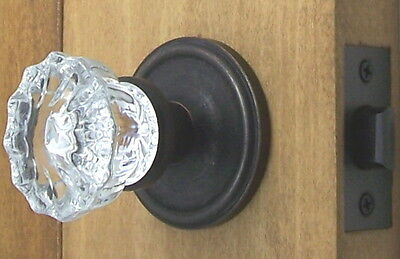 Best Quality Fluted Depression Crystal Door Knobs-Oil Rubbed Bronze EZ-Install