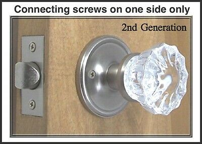 Fluted Depression Crystal Residential Passage Door Knob Set Complete-DIY KIT