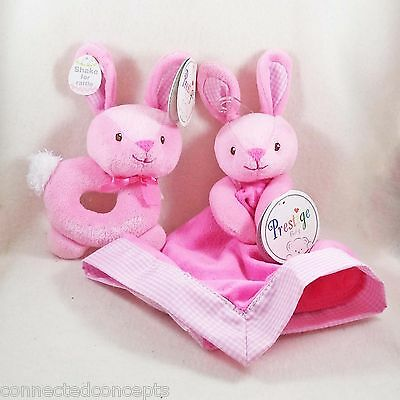 Prestige Baby Easter Pink Bunny Blankie Blanket and My First Bunny Rattle NEW!