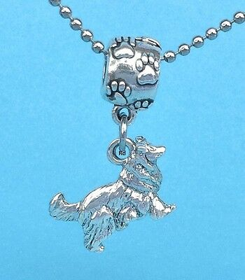 3D Collie Border Collie Dog Breed Slider Charm Sterling Silver plated