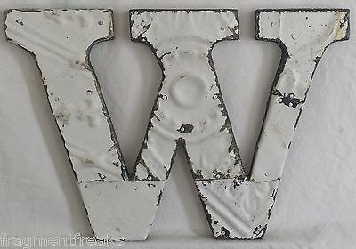 "Antique Tin Ceiling Wrapped 8"" Letter ""W"" Patchwork Metal Mosaic White"