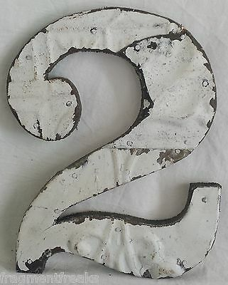 """Antique Tin Ceiling Wrapped 8"""" Number '2' Patchwork Reclaimed Metal White"""