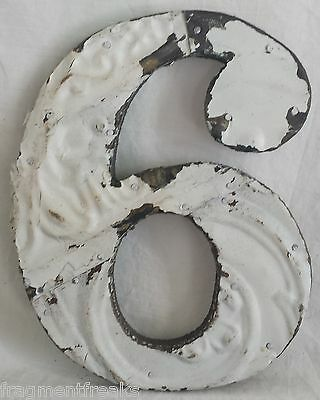 """Antique Tin Ceiling Wrapped 8"""" Number '6' Patchwork Reclaimed Metal White"""